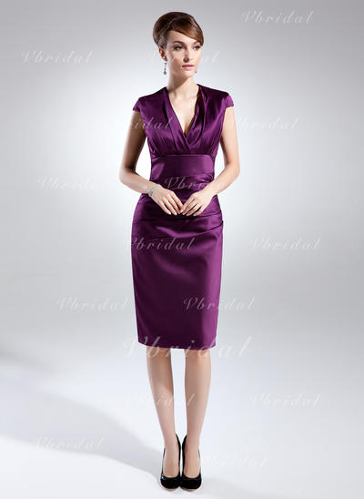 Hermoso Hasta la rodilla Vestido tubo Satén Vestidos de madrina (008211070)