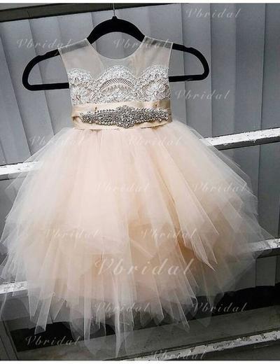 Glamuroso Escote redondo Corte A/Princesa Vestidos para niña de arras Hasta la rodilla Tul Sin mangas (010146776)