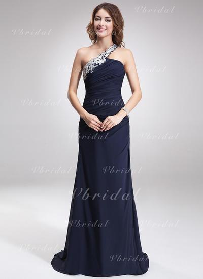 Aライン/プリンセスライン2 シフォン ワンショルダー 袖なし イブニングドレス (017016875)