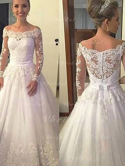 Hermoso Por debajo del hombro Corte de baile Vestidos de novia Cola corte Tul Mangas largas (002148008)