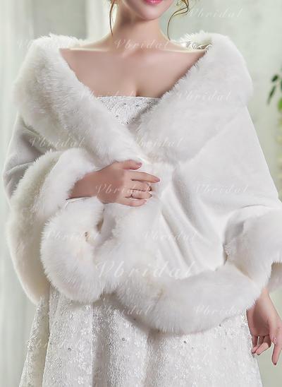 Wrap Fashion Artificial Wool White Wraps (013150529)