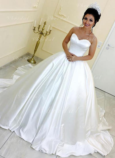 Corazón Corte de baile Vestidos de novia Satén Fajas Sin mangas Tren real (002146933)