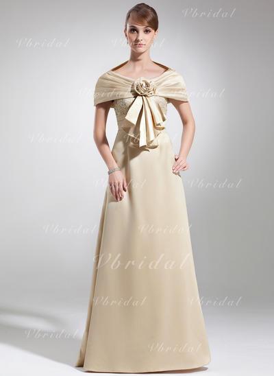 レース スクープネック Beautiful サテン ミセスドレス (008005934)