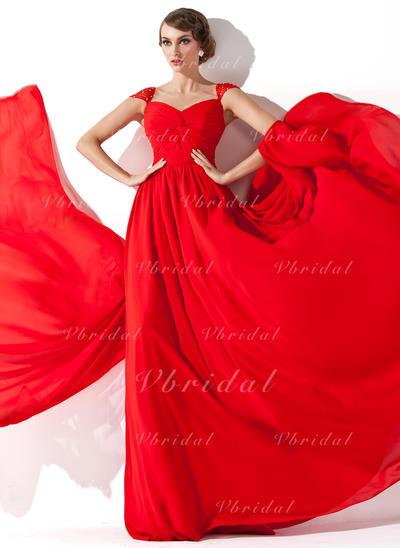 Hermoso Escote en V Corte A/Princesa Gasa Vestidos de noche (017013781)