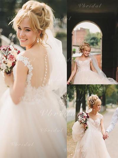 Los appliques Encaje Corte A/Princesa con Tul Vestidos de novia (002148003)
