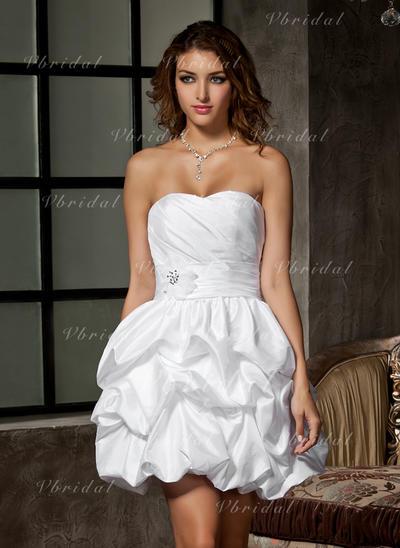 Volantes Cuentas Flores Corazón Corte A/Princesa - Tafetán Vestidos de novia (002211046)