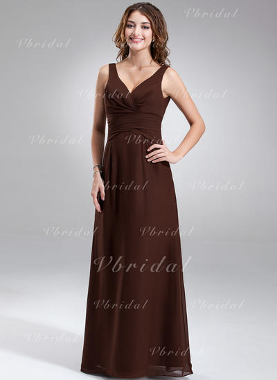 Magnificent V-neck A-Line/Princess Sleeveless Chiffon Bridesmaid Dresses (007001889)