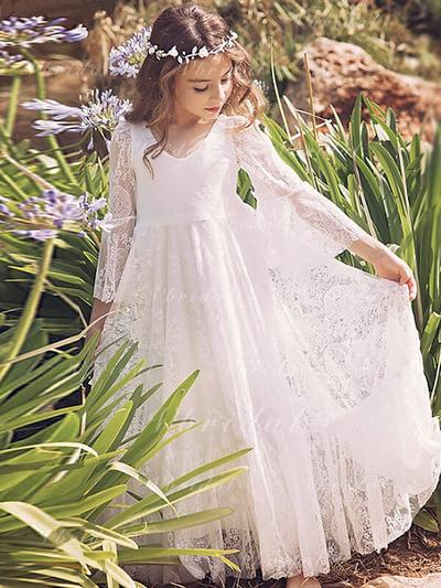 Glamorous V-neck A-Line/Princess Flower Girl Dresses Ankle-length Lace Long Sleeves (010145261)