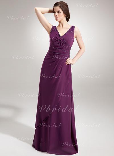 シフォン Vネック Aライン/プリンセスライン2 袖なし Luxurious イブニングドレス (017020666)