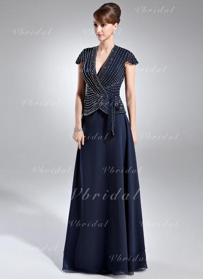 Cuentas Escote en V Glamuroso Gasa Vestidos de madrina (008005936)