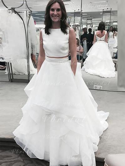 Moderno Corte A/Princesa con Organdí Vestidos de novia (002147972)