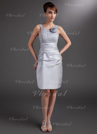 ラッフル フラワー スクープネック Magnificent サテン ミセスドレス (008006032)