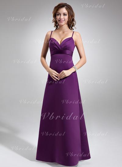 Simple エンパイア スパゲティ・ストラップ サテン ブライドメイドドレス (007004279)