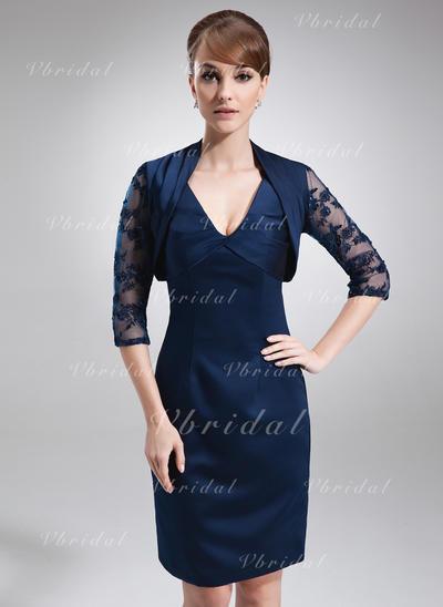 Escote en V Sencillo Satén Vestidos de madrina (008005958)