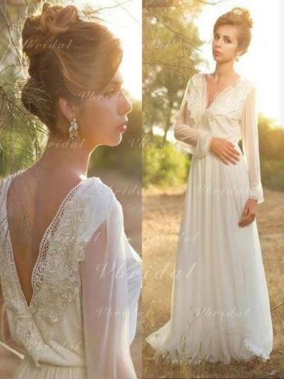 Encaje Cuello de pico Corte A/Princesa - Gasa Vestidos de novia (002210875)