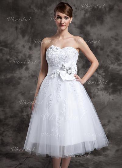 Lujoso Sin mangas Corazón con Tul Vestidos de novia (002210461)