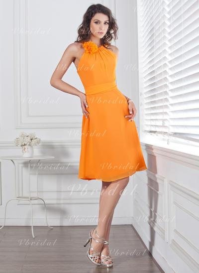 Flattering スクープネック Aライン/プリンセスライン2 袖なし シフォン ブライドメイドドレス (007004128)