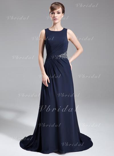 ラッフル ビーズ スクープネック Sexy シフォン ミセスドレス (008005708)