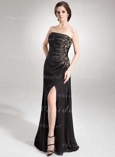 Aライン/プリンセスライン2 シフォン ストラップレス 袖なし イブニングドレス (017016336)