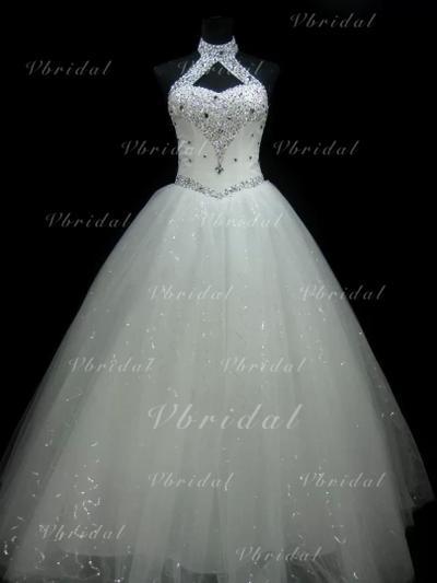 Corte de baile Tul Sin mangas Top Hasta el suelo Vestidos de novia (002147807)