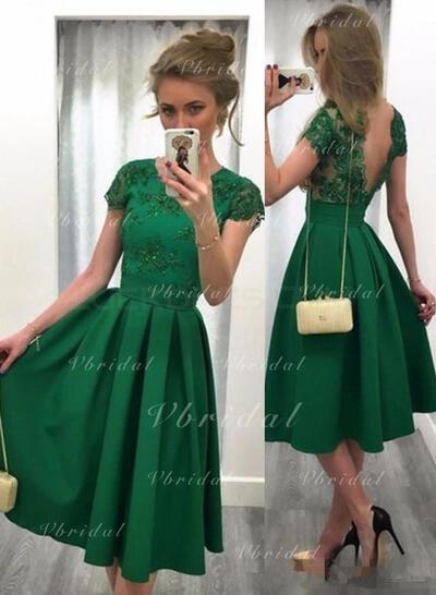 Knee-Length A-Line/Princess Scoop Neck Satin Cocktail Dresses (016145289)