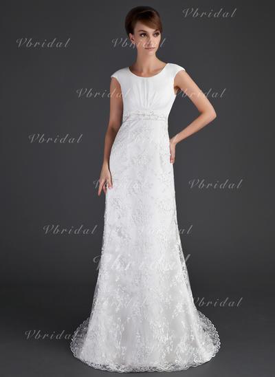 Lace Cap Straps Court Train Elegant Wedding Dresses (002001630)