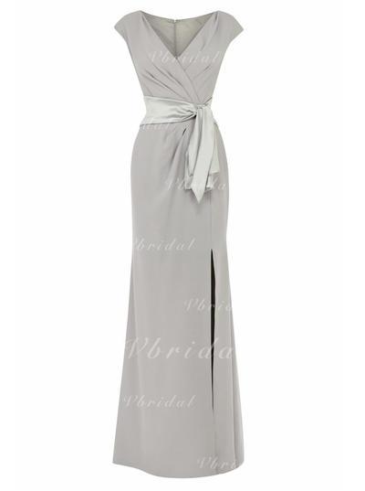 Corte imperial Escote en V Crepé Elástico Elegante Vestidos de madrina (008146317)