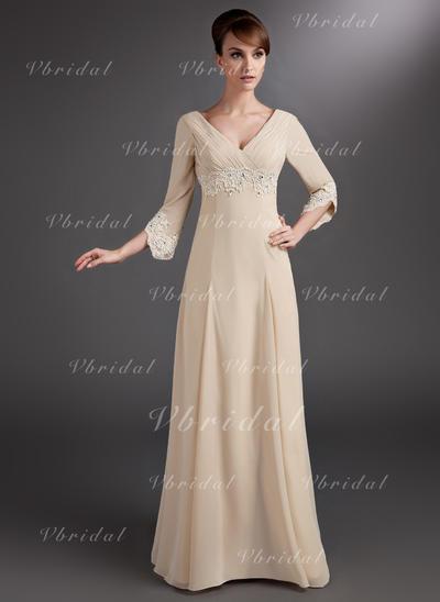 Halagador Gasa Escote en V Corte imperial Vestidos de madrina (008006084)