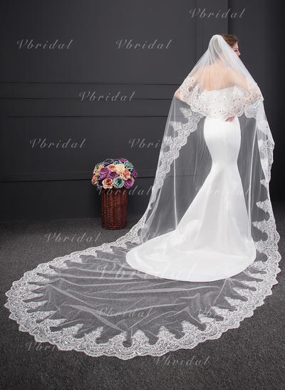 Chapel Bridal Veils Two-tier Classic With Lace Applique Edge With Lace Wedding Veils (006152536)