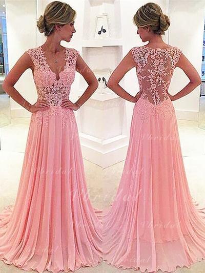 Escote en V Corte A/Princesa Elegante Gasa Vestidos de baile de promoción (018145851)