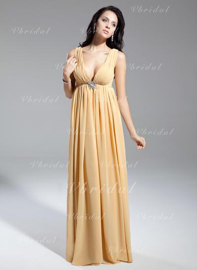 Hermoso Escote en V Corte imperial Gasa Vestidos de madrina (008211369)