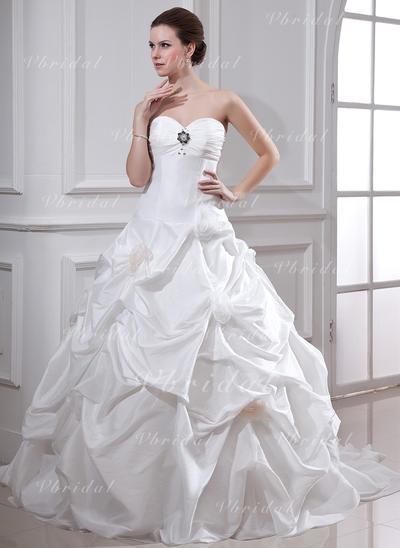 Tafetán Sin tirantes Cola capilla Moda Vestidos de novia (002001719)