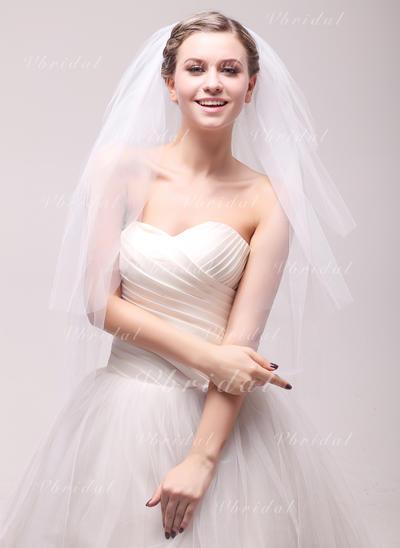 Tres capas Corte de borde Velos de novia vals con Diamantes de imitación (006106815)