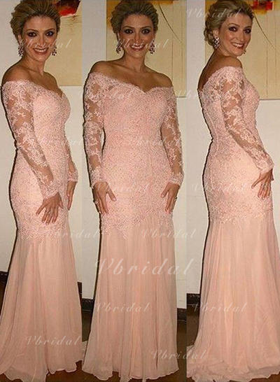 Chiffon Lace Sweep Train Trumpet/Mermaid Long Sleeves Mother of the Bride Dresses (008146302)