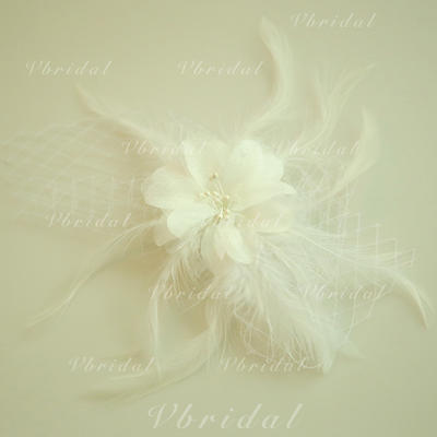 """Forehead Jewelry Wedding/Special Occasion/Party Net Yarn/Feather/Silk Flower 5.91""""(Approx.15cm) 3.15""""(Approx.8cm) Headpieces (042159529)"""