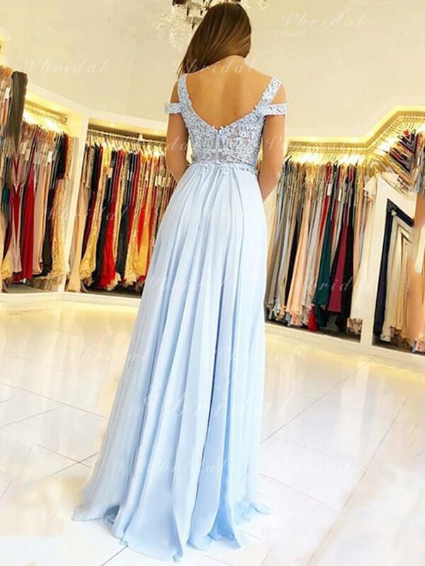 e7e0a2f8803 A-Line Princess Chiffon Prom Dresses Sexy Floor-Length Off-the-Shoulder  Short Sleeves (018218484)