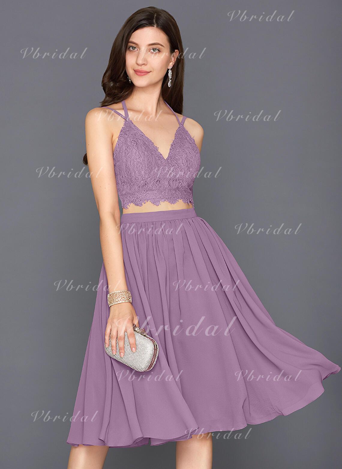 f7dfb283ff2 A-Line Princess V-neck Knee-Length Chiffon Homecoming Dresses (022214192)