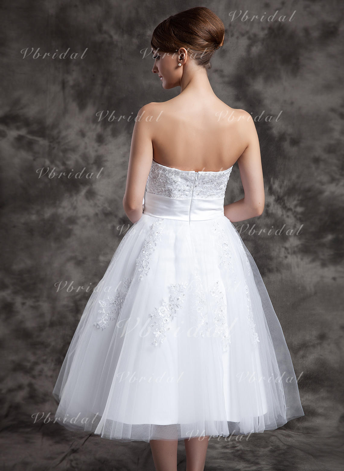 A Lineprincess Sweetheart Tea Length Tulle Wedding Dress With Lace