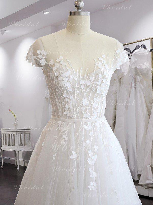 38cc8739303 Scoop A-Line Princess Wedding Dresses Tulle Appliques Lace Short Sleeves Sweep  Train (002218629)