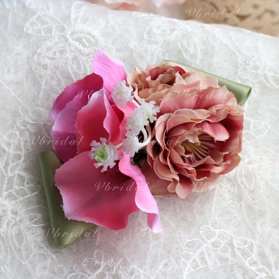 Wrist Corsage Round Wedding Satin The color of embellishments are ...