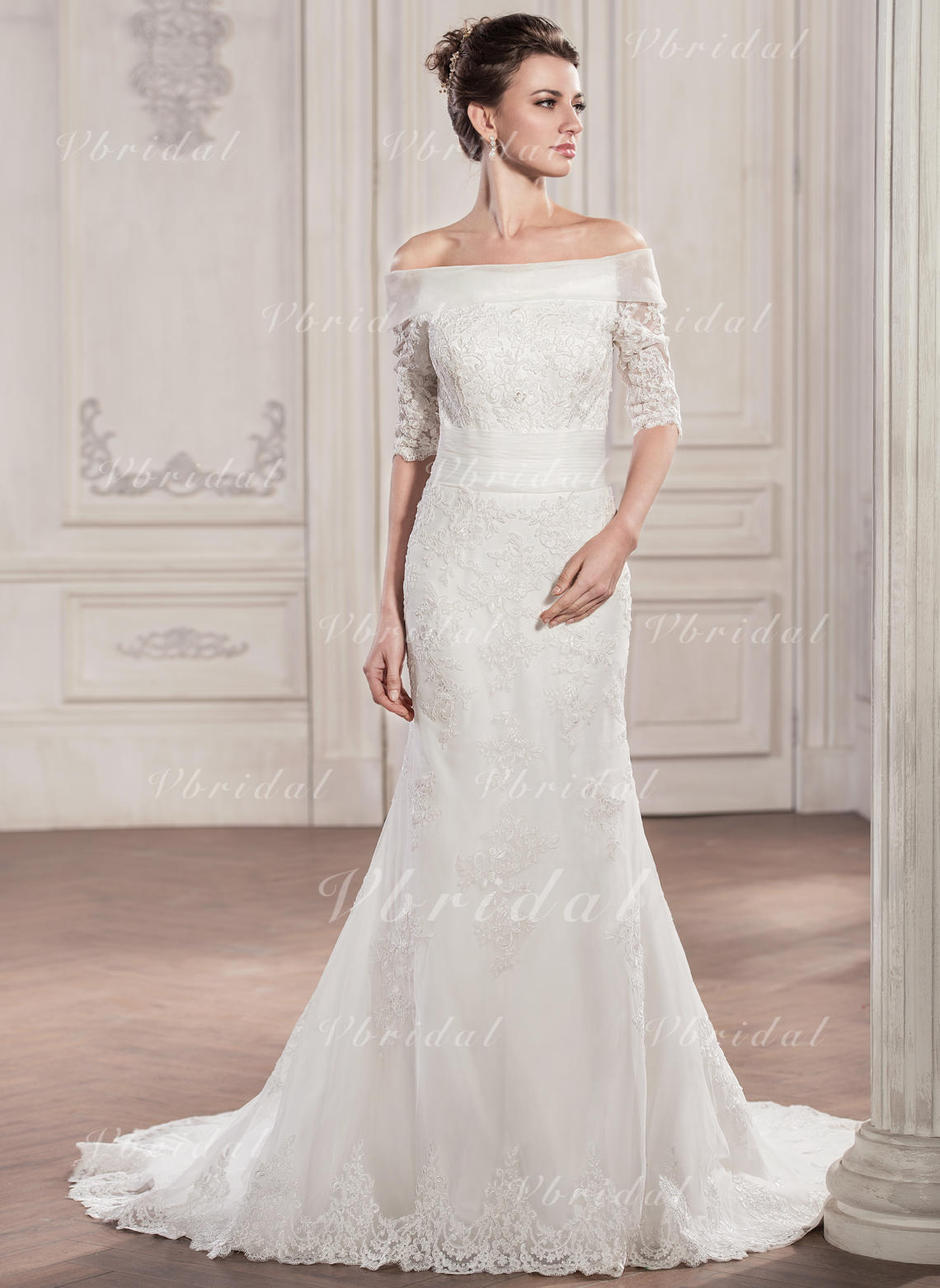 d67db3ca8a319 Trumpet/Mermaid Off-the-Shoulder Chapel Train Tulle Lace Wedding Dress With  Ruffle (002057291)