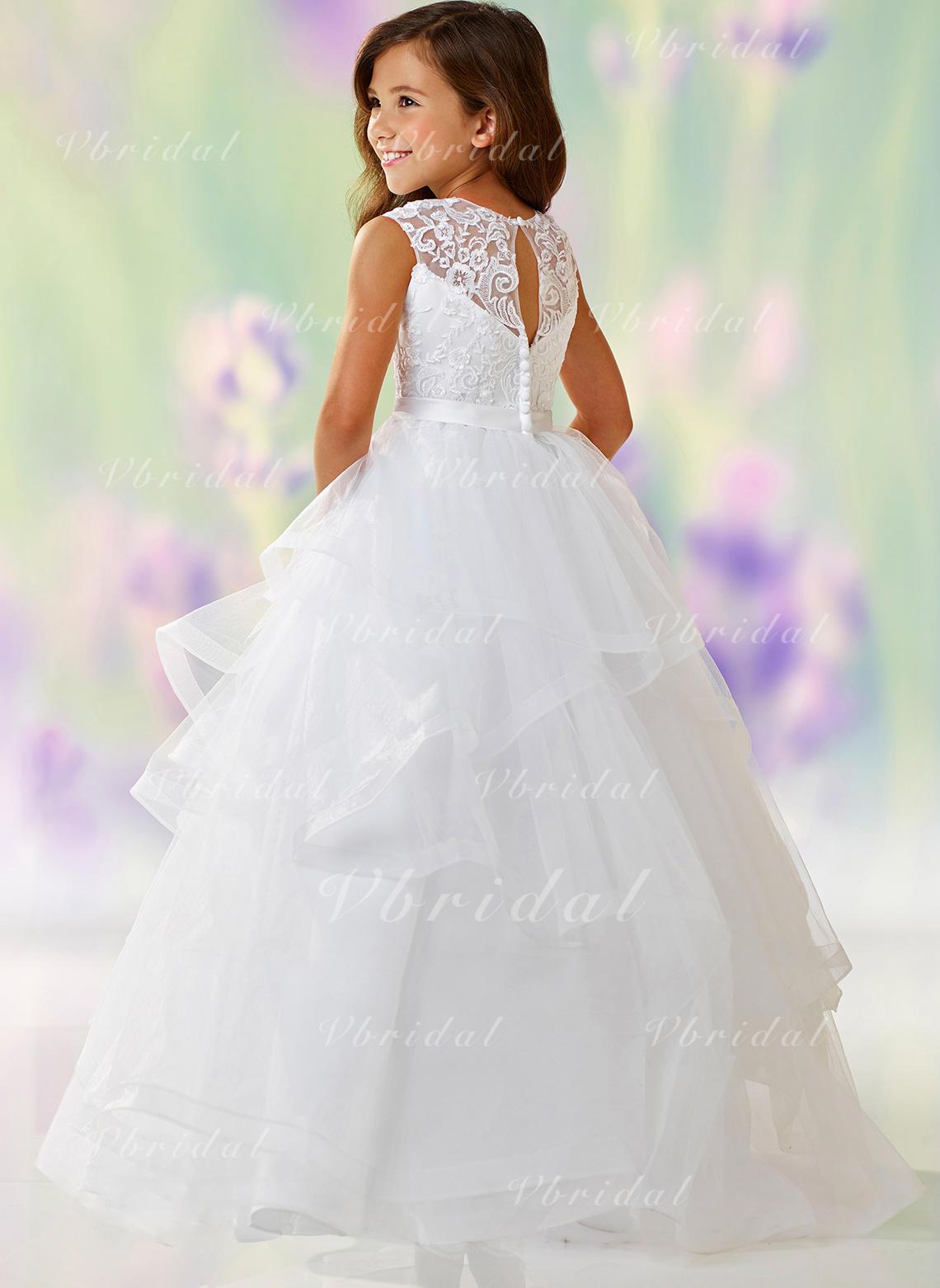 01d50e5a30d Ball Gown Scoop Neck Floor-length Satin Tulle Lace Sleeveless Flower Girl  Dress (010148126)
