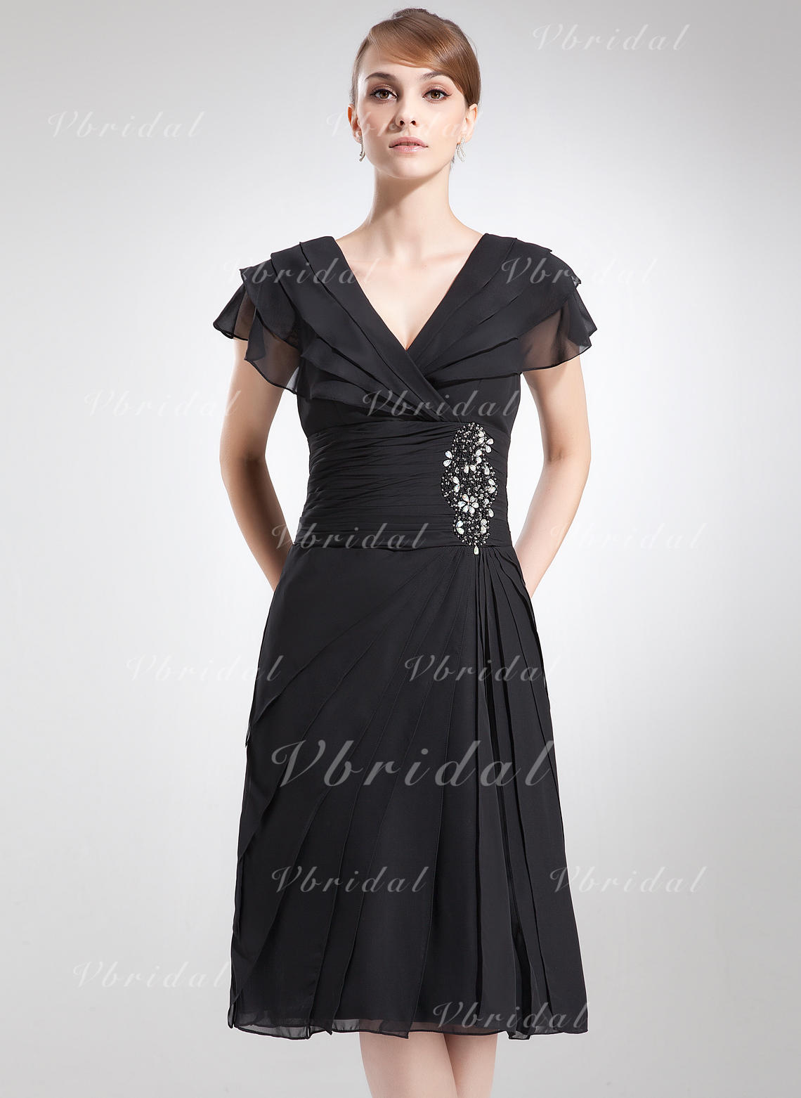 2157ab39d966df A-Line/Princess V-neck Knee-Length Chiffon Mother of the Bride Dress With  Beading Cascading Ruffles (008006041)