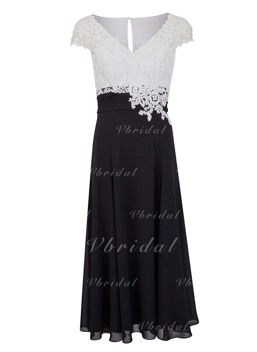0026e99674a A-Linie Princess-Linie V-Ausschnitt Wadenlang Chiffon Lace Kleider für die  Brautmutter (008146292)