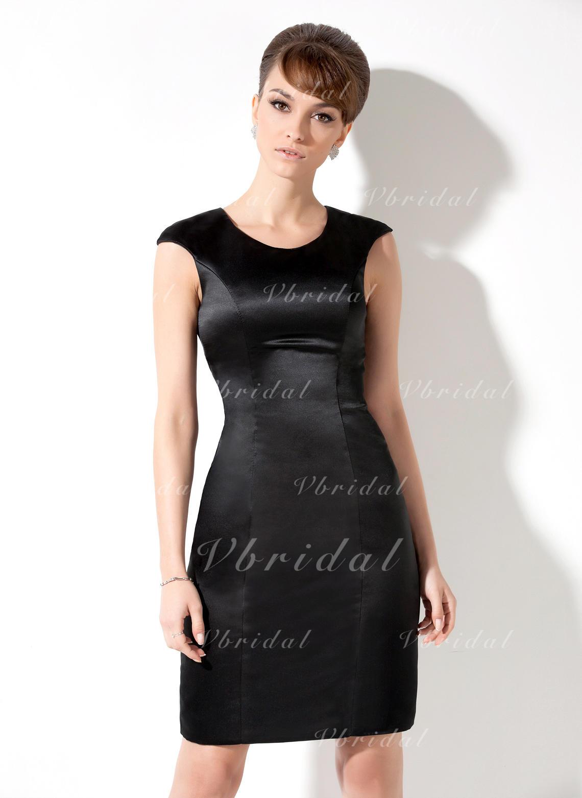 Sheath/Column Scoop Neck Knee-Length Satin Cocktail Dress (016021176 ...
