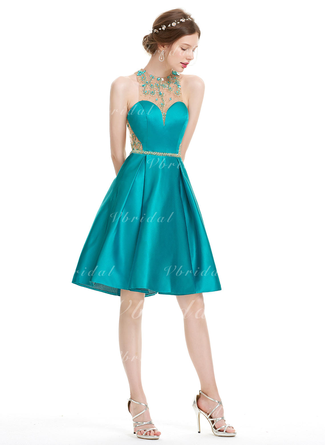75150b9059c59 A-Line/Princess Scoop Neck Knee-Length Satin Homecoming Dresses With Beading  Sequins (022214178)