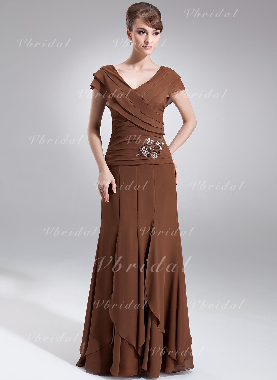 067f7985835b A-formet Prinsesse V-hals Gulvlengde Chiffong Kjole til brudens mor med  Perlebesydd Brusende Volanger (008006059)
