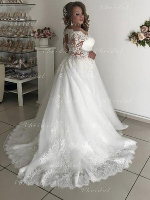 Van De Schouder A Lijn Prinses Bruidsjurken Tule Kant