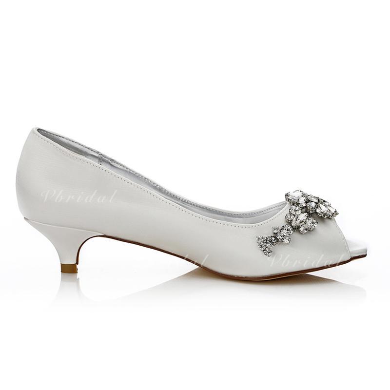 ff8e9ce47da Women s Peep Toe Dyeable Shoes Low Heel Satin With Rhinestone Wedding Shoes  (047205937)