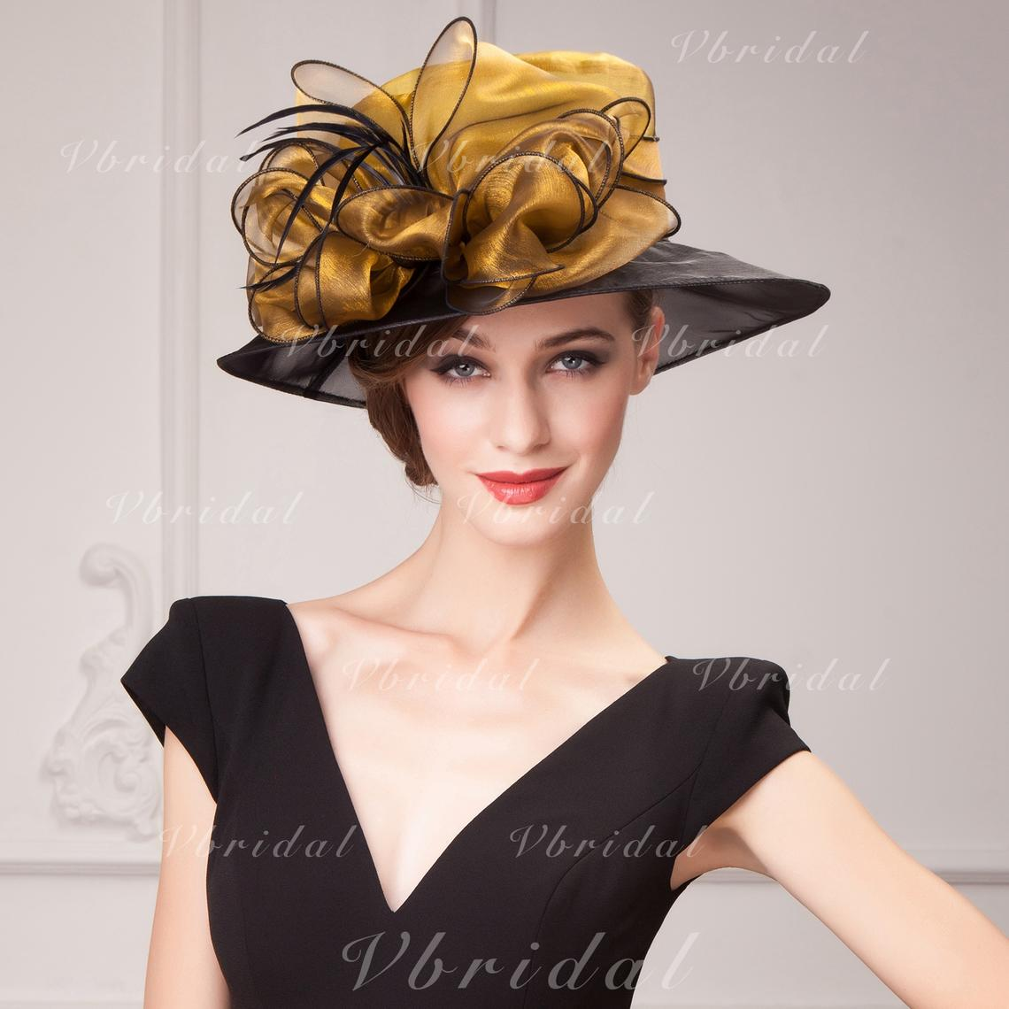 58e56d5e4dffc Organza With Feather Fascinators Beautiful Ladies  Hats (196194775 ...